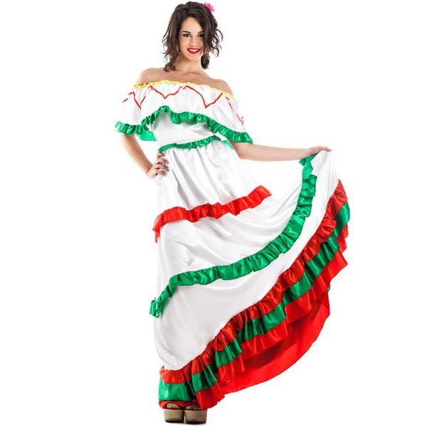 disfraz de mejicana largo para mujer - DISFRAZ DE MEXICANA BLANCO MUJER
