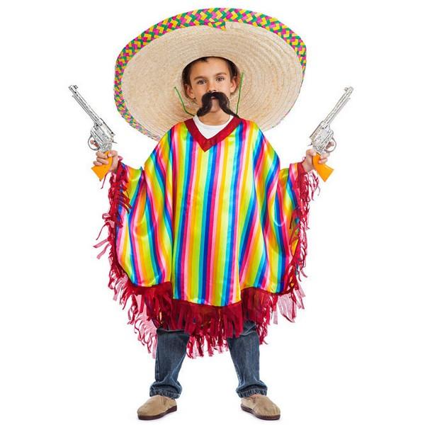 disfraz de mejicano poncho rayas para nino - DISFRAZ PONCHO MEJICANO NIÑO