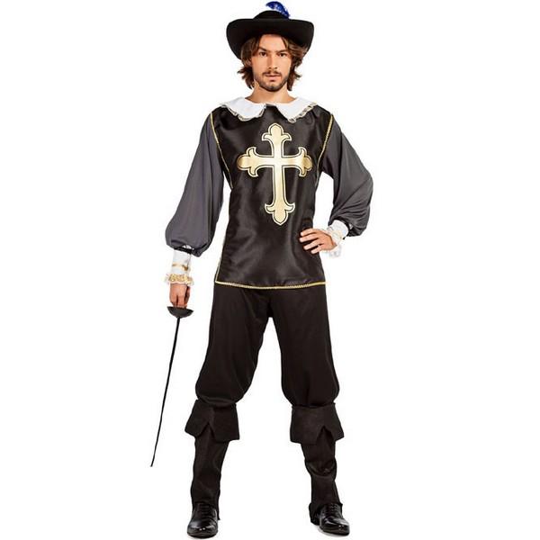disfraz de mosquetero negro adulto - DISFRAZ DE MOSQUETERO NEGRO HOMBRE