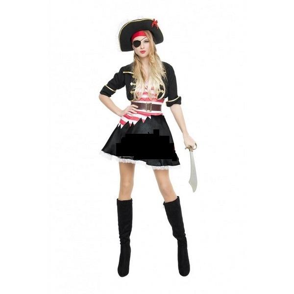 disfraz de pirata corsaria negra mujer 1 - DISFRAZ DE PIRATA CASACA NEGRA MUJER