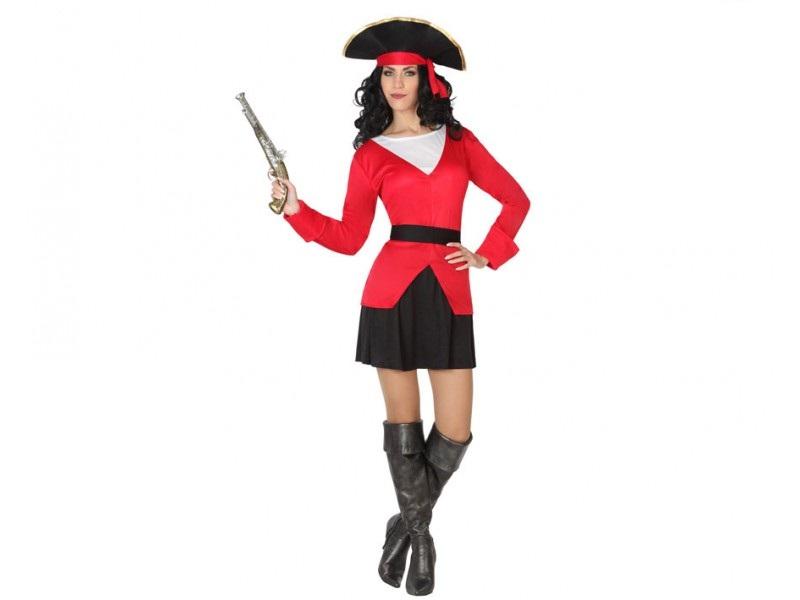 disfraz de pirata mujer - DISFRAZ DE PIRATA ROJO MUJER
