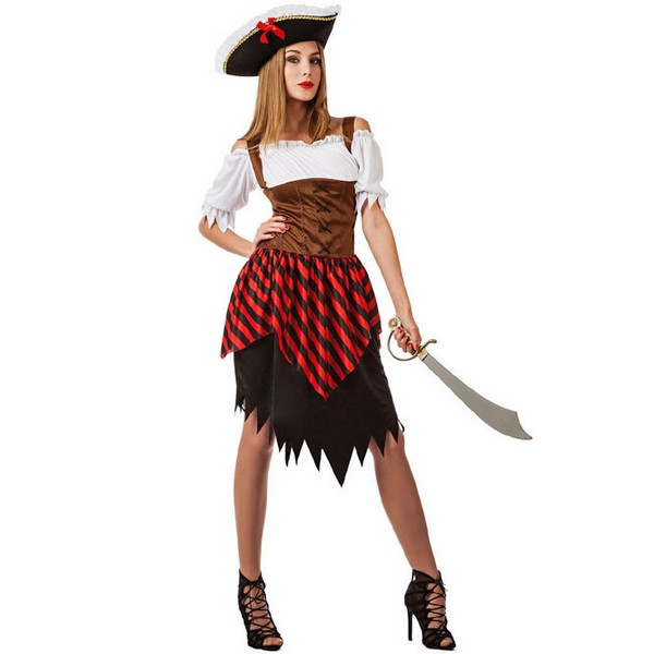disfraz de pirata para mujer - DISFRAZ DE PIRATA RAYAS MUJER