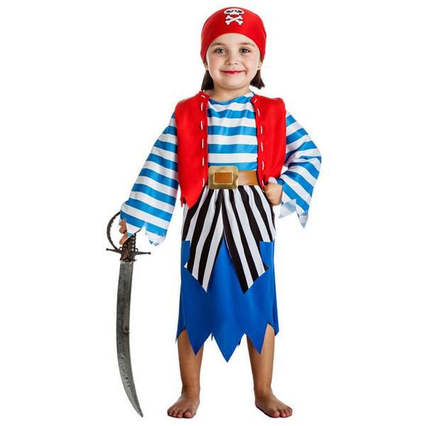 disfraz de piratina camisa listada para bebe - DISFRAZ DE PIRATA AZUL BEBÉ NIÑA