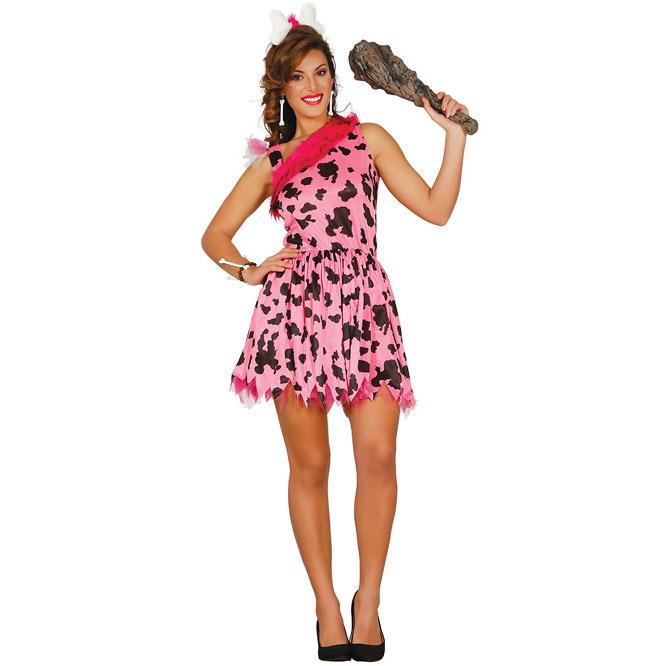 disfraz de troglodita rosa para mujer 130478 - DISFRAZ DE BETTY PICAPIEDRA MUJER