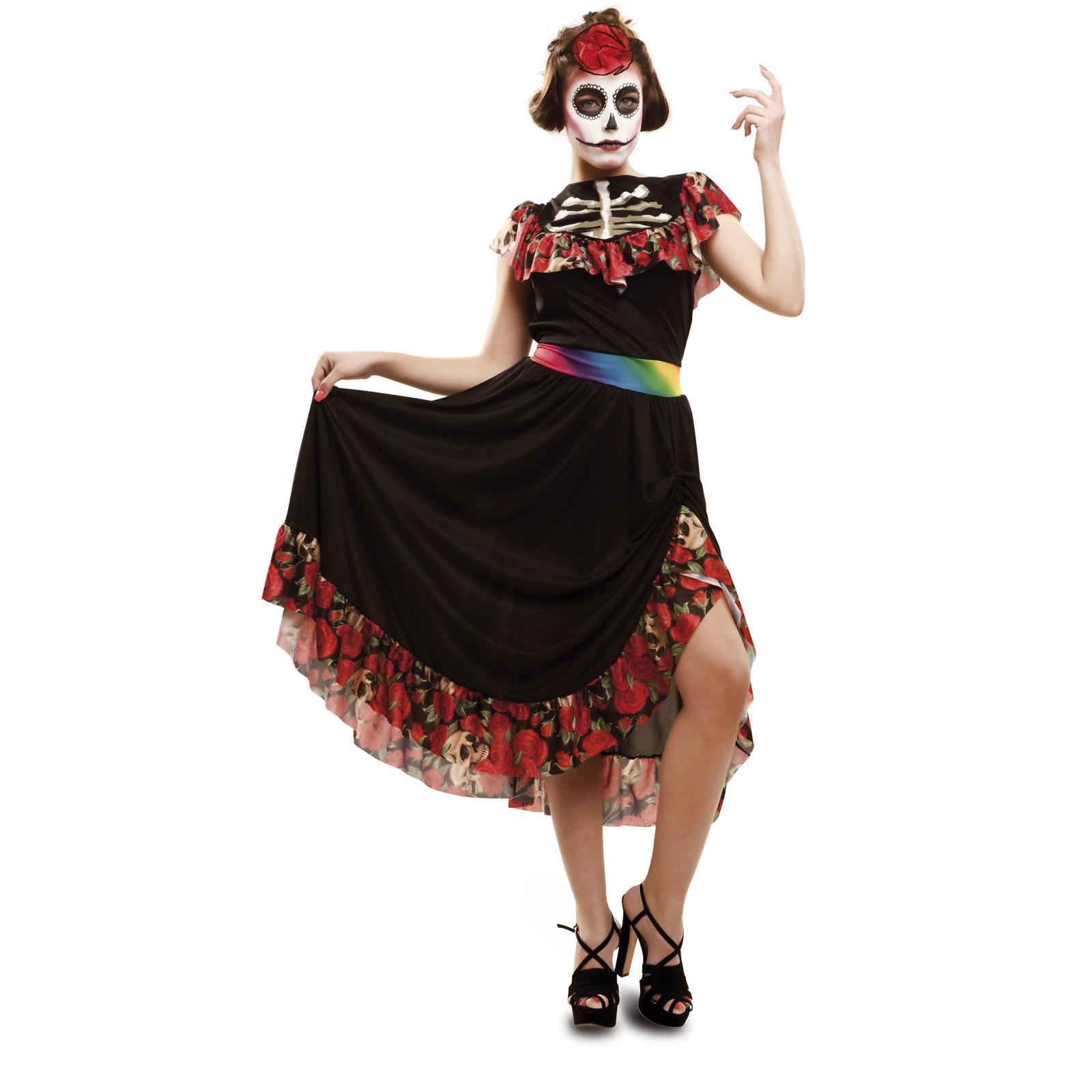 disfraz dia de los muertos largo mujer - DISFRAZ DIA DE LOS MUERTOS CATRINE MUJER