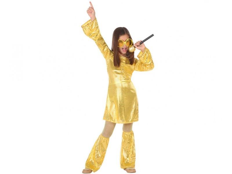 disfraz disco dorado niña - DISFRAZ DE DISCO DORADO NIÑA