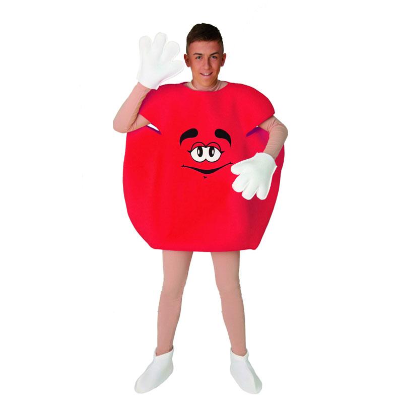 disfraz dulce mm rojo adulto 1 - DISFRAZ DE DULCE ROJO M&M ADULTO