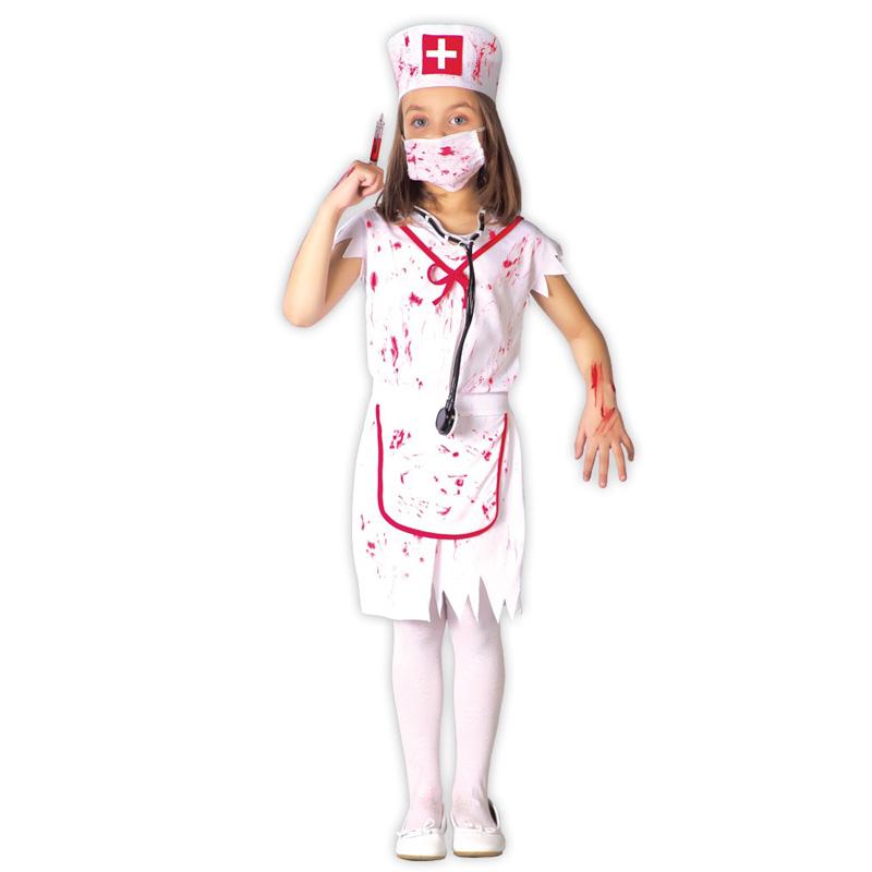 disfraz enfermera sangrienta zombie infantil 82606 - DISFRAZ DE ENFERMERA SANGRIENTA NIÑA