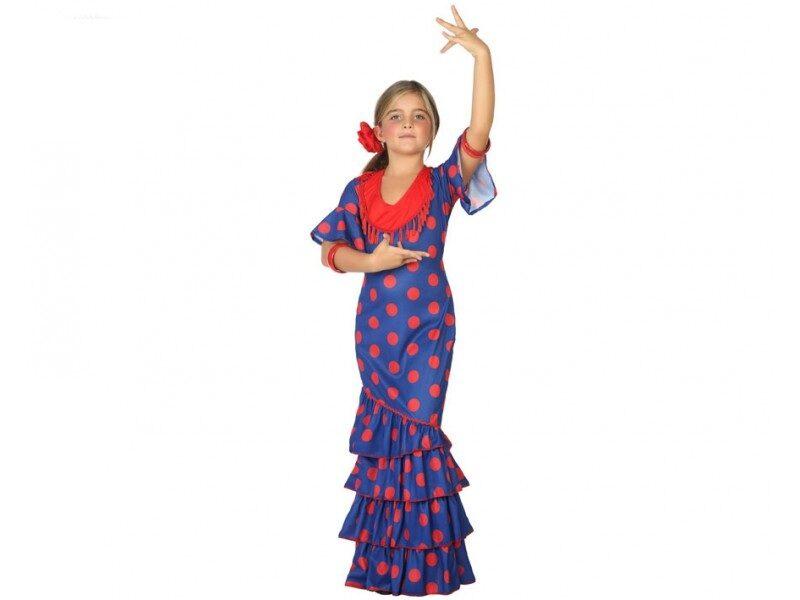 disfraz flamenca azul niña 800x600 - DISFRAZ DE FLAMENCA AZUL NIÑA