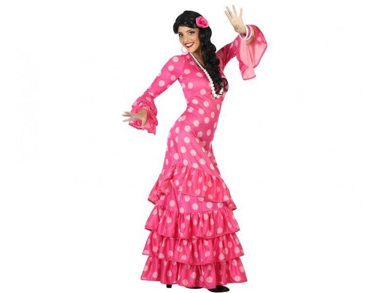 disfraz flamenca rosa mujer. 800x600 - DISFRACES MUJER