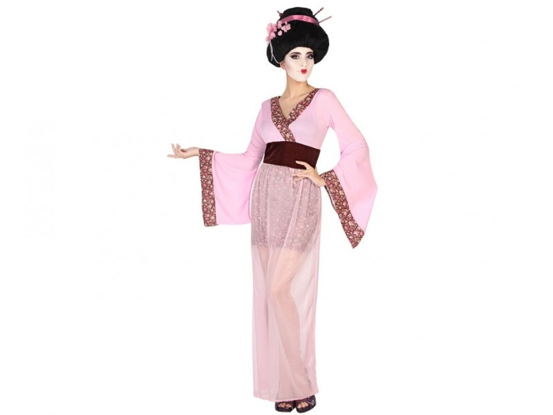 disfraz geisha rosa mujer - DISFRAZ DE GEISHA ROSA MUJER