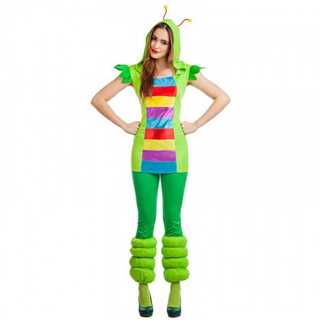 disfraz gusanita multicolor para mujer - DISFRAZ DE GUSANITA MULTICOLOR MUJER