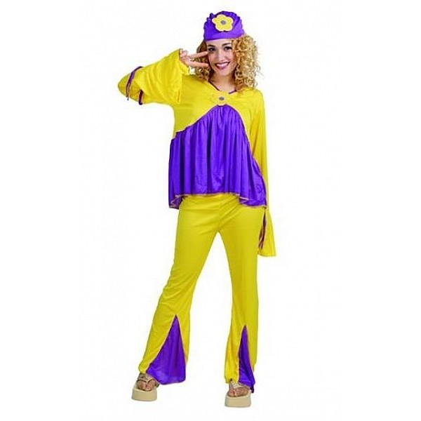 disfraz hipie amarillo mujer - DISFRAZ DE HIPPIE AMARILLO MUJER