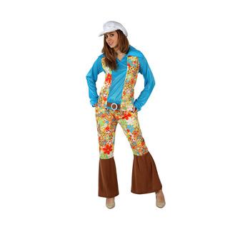 disfraz hippie azul mujer - DISFRAZ DE HIPPIE AZUL MUJER