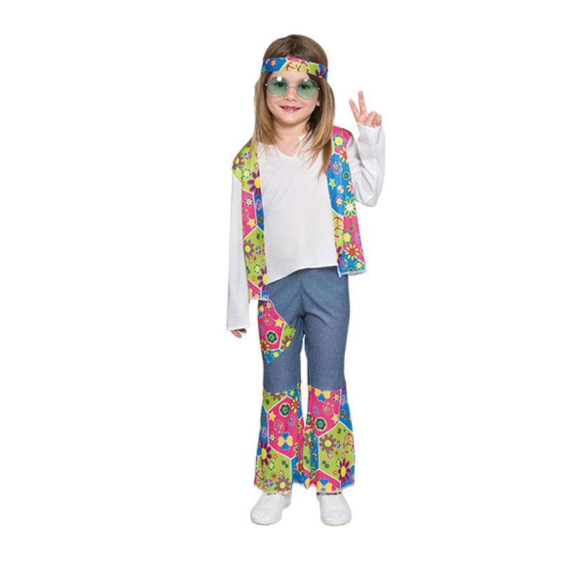 disfraz hippie azul niña - DISFRAZ DE HIPPIE AZUL NIÑA