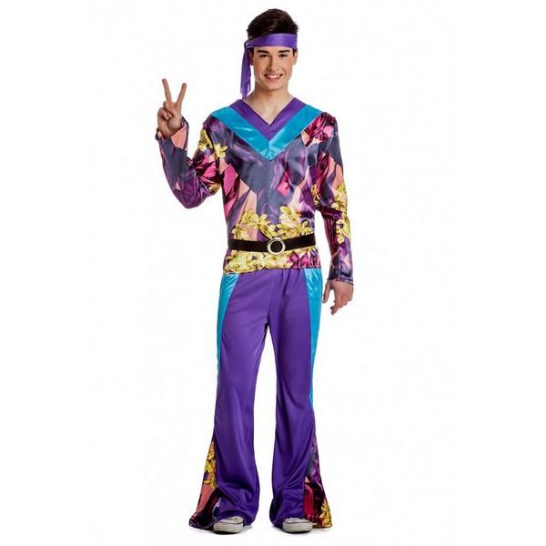 disfraz hippie lila hombre - DISFRAZ DE HIPPIE VIOLETA HOMBRE