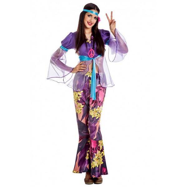 disfraz hippie lila mujer - DISFRAZ DE CHICA HIPPIE LILA MUJER