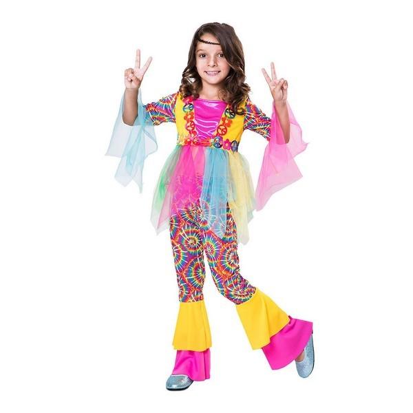 disfraz hippie multicolor niña - DISFRAZ DE HIPPIE MULTICOLOR NIÑA