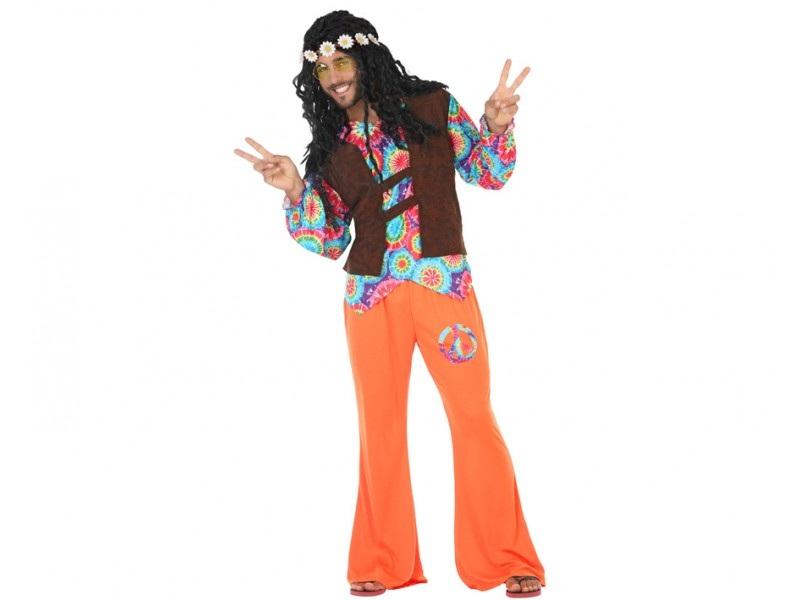 disfraz hippie naranja hombre - DISFRAZ DE HIPPIE NARANJA HOMBRE
