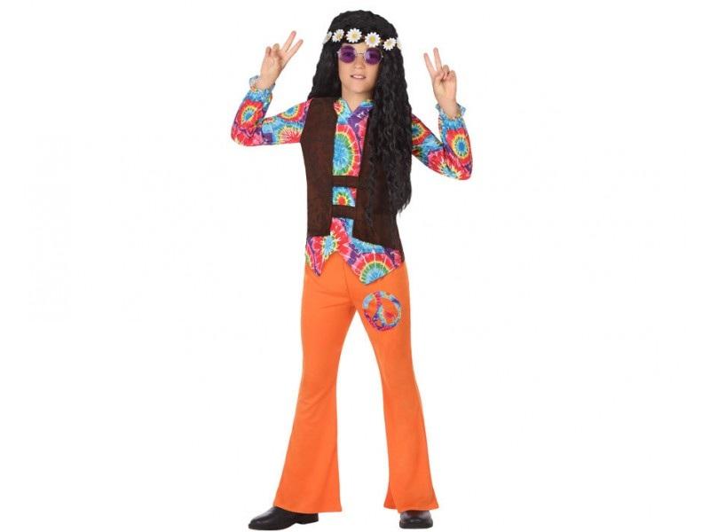 disfraz hippie naranja niño - DISFRAZ DE HIPPIE NARANJA NIÑO