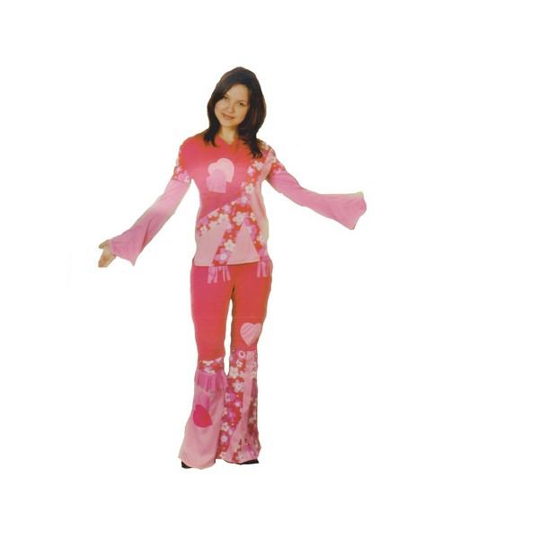 disfraz hippie rosa mujer - DISFRAZ DE HIPPIE ROSA MUJER