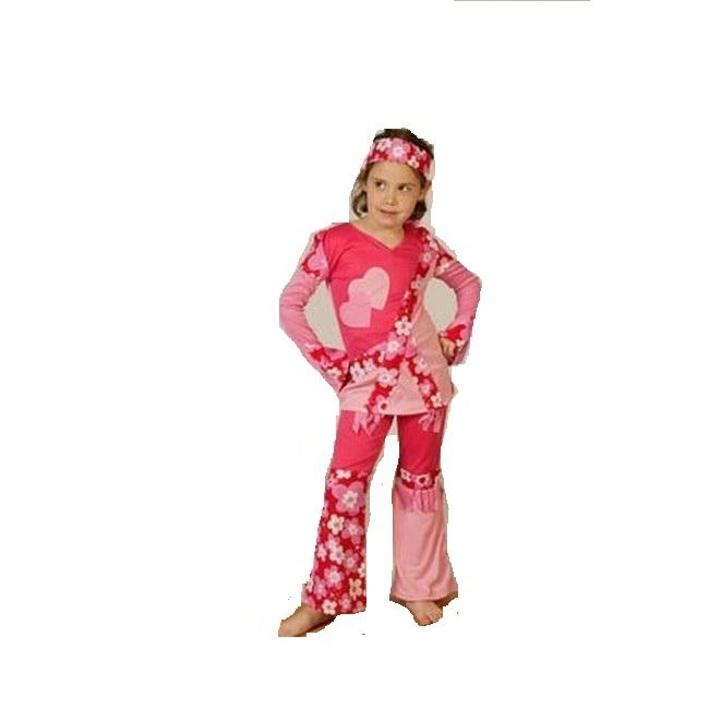 disfraz hippie rosa niña - DISFRAZ DE HIPPIE ROSA NIÑA