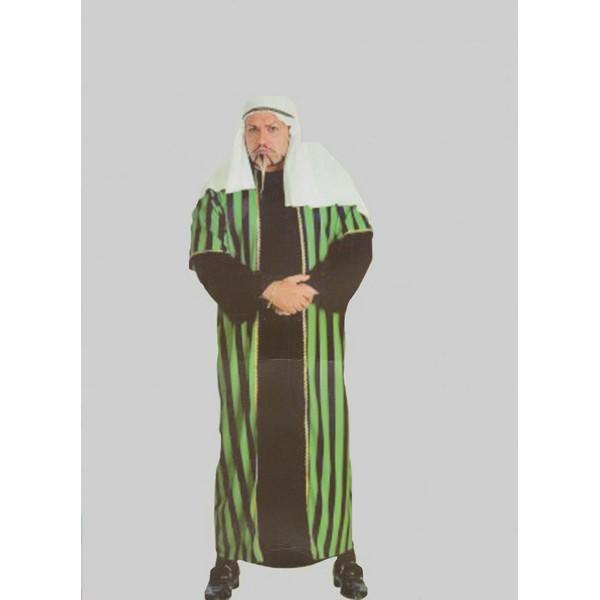 disfraz jeque arabe rayas verdes hombre - DISFRAZ DE JEQUE RAYAS VERDE/NEGRO HOMBRE