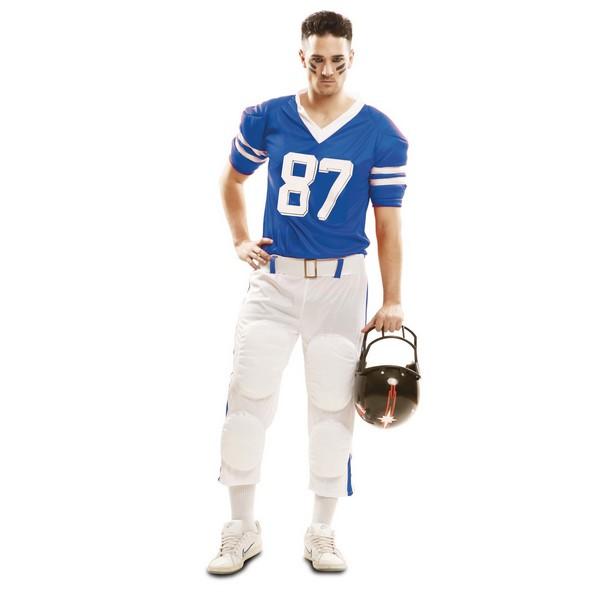 disfraz jugador rugby azul hombre - DISFRAZ DE JUGADOR DE RUGBY AZUL HOMBRE