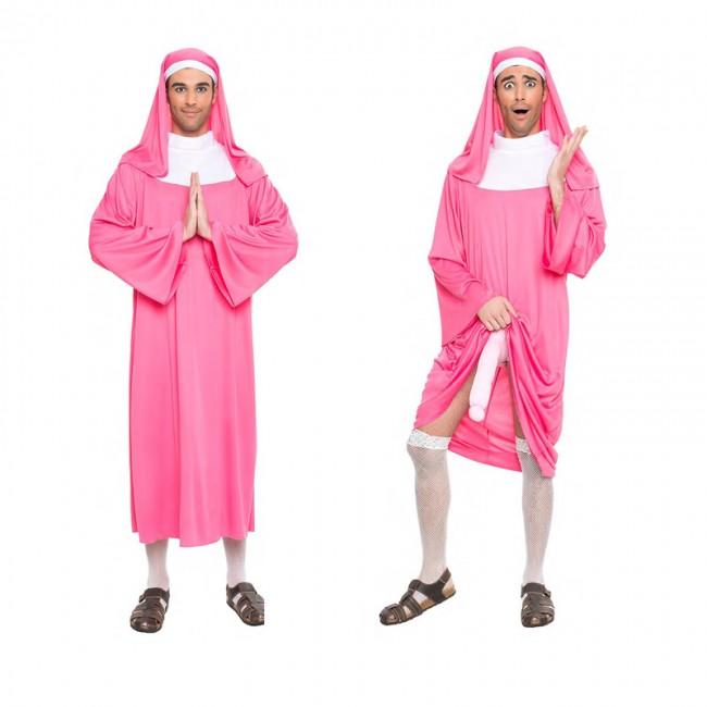 disfraz monja rosa exhibicionista para hombre