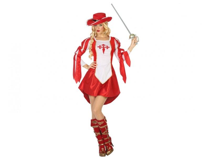 disfraz mosquetera mujer 1 - DISFRAZ DE MOSQUETERA ROJO MUJER