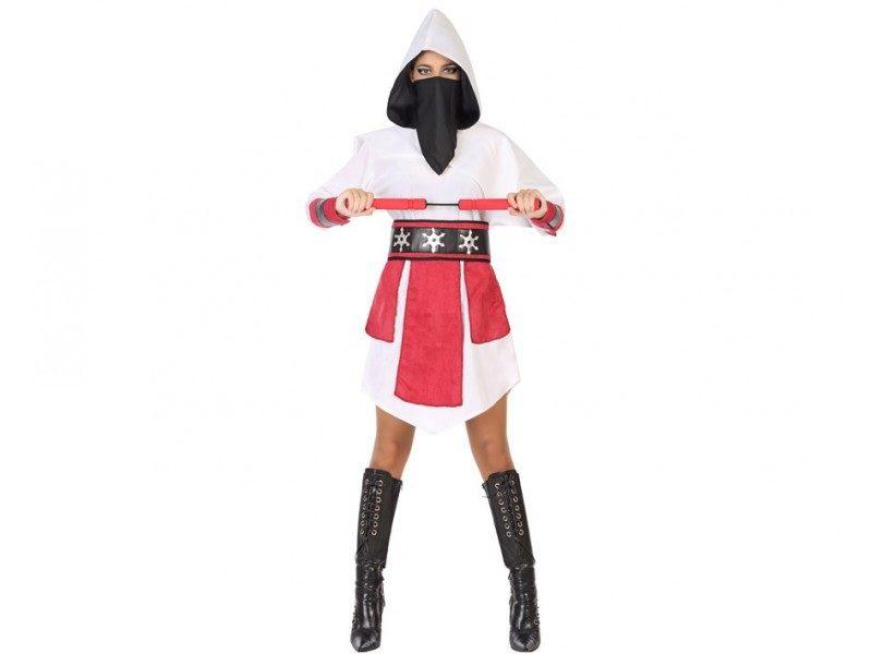 disfraz ninja blanco mujer 800x600 - DISFRAZ DE NINJA BLANCO MUJER