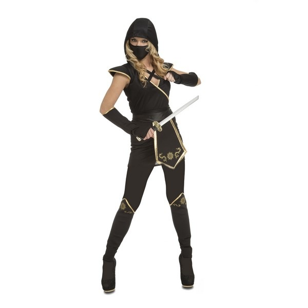 disfraz ninja negro mujer 204896 - DISFRAZ DE NINJA NEGRO MUJER