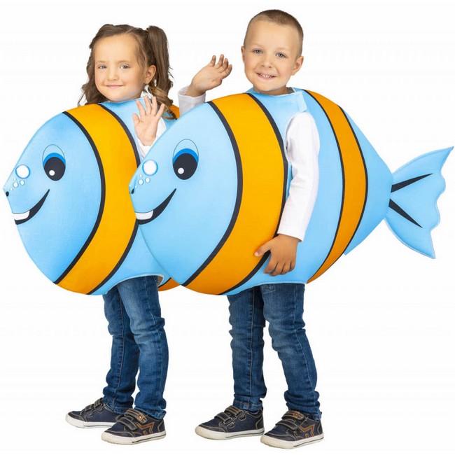 disfraz pez azul claro infantil - DISFRAZ DE PEZ AZUL CLARO-NARANJA INFANTIL
