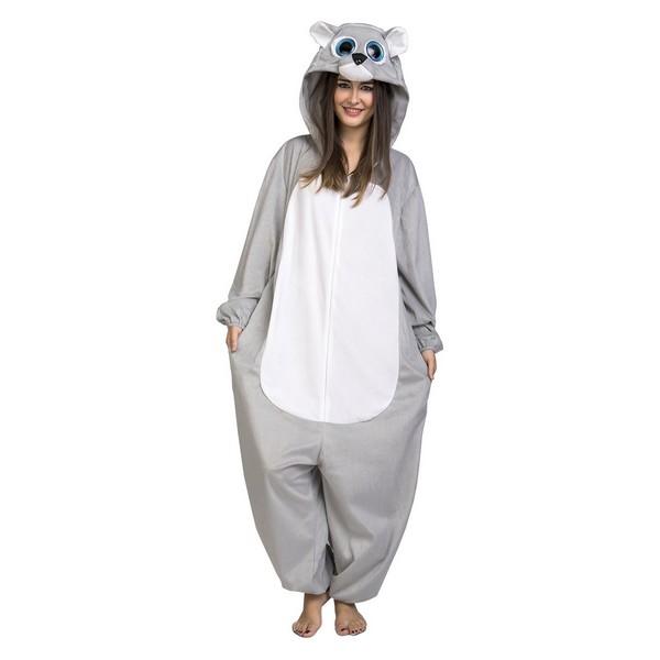 disfraz pijama oso gris adulto - DISFRAZ PIJAMA DE OSO GRIS ADULTO