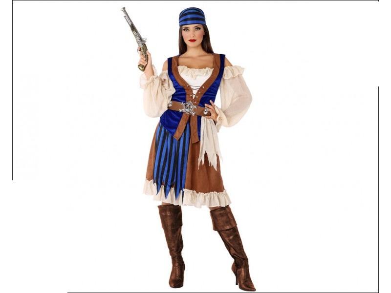 disfraz pirata marrón mujer - DISFRAZ DE PIRATA MARRÓN MUJER