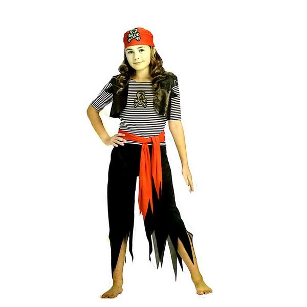 disfraz pirata negro rayas niña - DISFRAZ DE PIRATA NEGRO RAYAS NIÑA