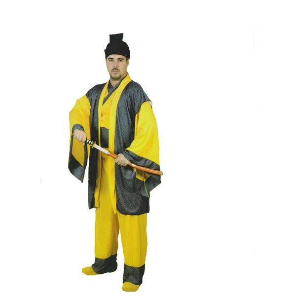 disfraz samurai amarillo hombre 1 - DISFRAZ DE SAMURAI AMARILLO HOMBRE