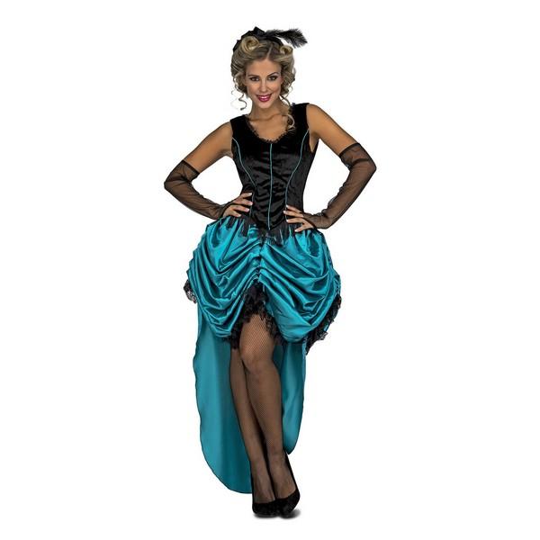disfraz señorita saloon azul - DISFRAZ DE SEÑORITA SALOON AZUL MUJER