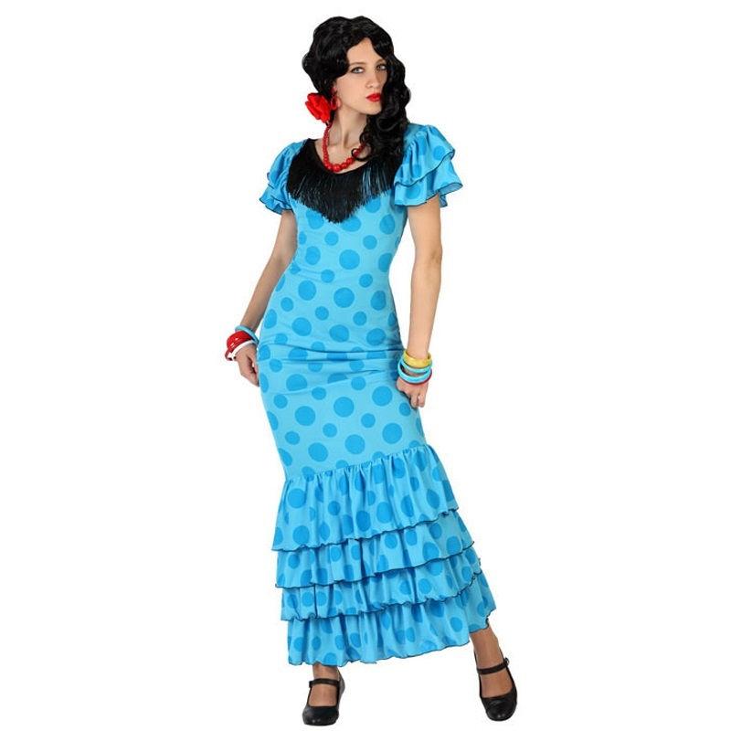 disfraz sevillana azul mujer - DISFRAZ DE SEVILLANA  AZUL MUJER