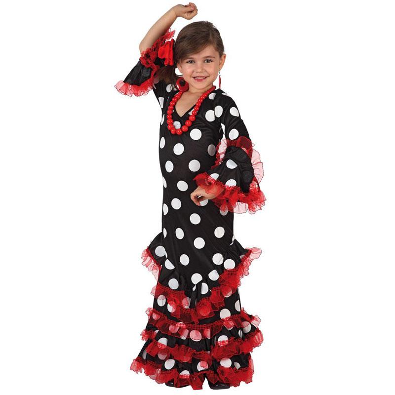 disfraz sevillana negro infantil - DISFRAZ DE SEVILLANA NEGRO INFANTIL