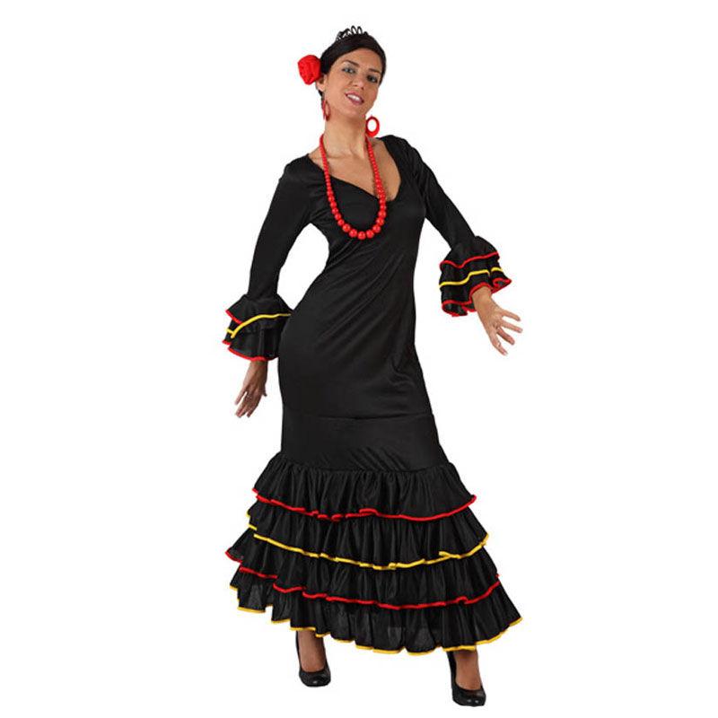 disfraz sevillana negro mujer - DISFRAZ DE SEVILLANA NEGRO MUJER