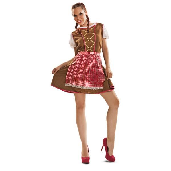 disfraz tirolesa marrón mujer - DISFRAZ DE TIROLESA MARRON MUJER