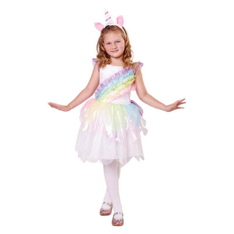disfraz unicornio blanco niña 800x800 - DISFRAZ DE UNICRNIO ARCO IRIS NIÑA