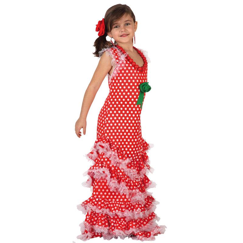 disfrz sevillana rojo infantil - DISFRAZ DE SEVILLANA ROJO INFANTIL