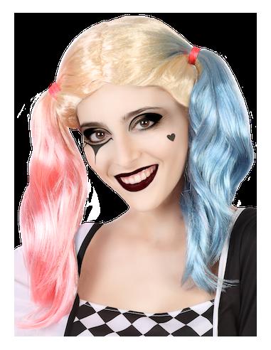 peluca harley quinn rosa azul - PELUCA DE HARLEY QUINN